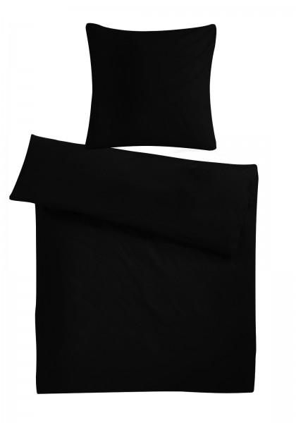 Biber Bettwäsche Schwarz Uni aus 100% Baumwolle