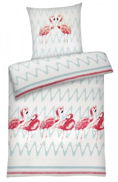 Seersucker Bettwäsche Flamingo aus 100% Baumwolle