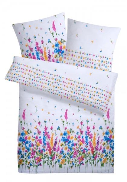 Seersucker Bettwäsche Blumen bunt aus 100% Baumwolle