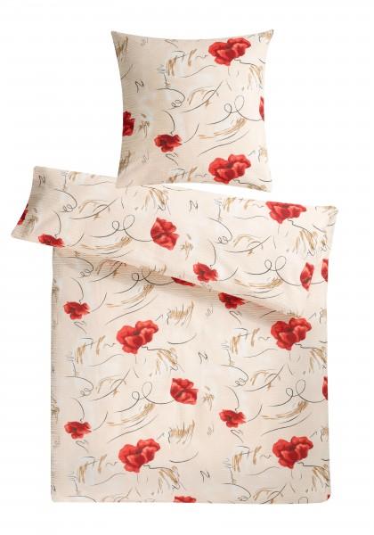 Seersucker Bettwäsche Mohnblume aus 100% Baumwolle