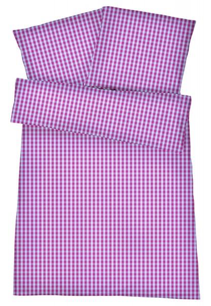 Mako-Perkal Bettwäsche 135x200 cm - Karos 2 - Lila Rosa aus 100% Baumwolle