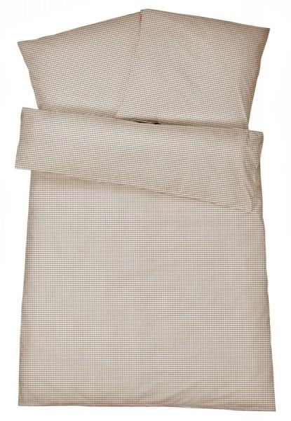 Mako-Perkal Bettwäsche 135x200 cm - Karos 1 - Braun aus 100% Baumwolle