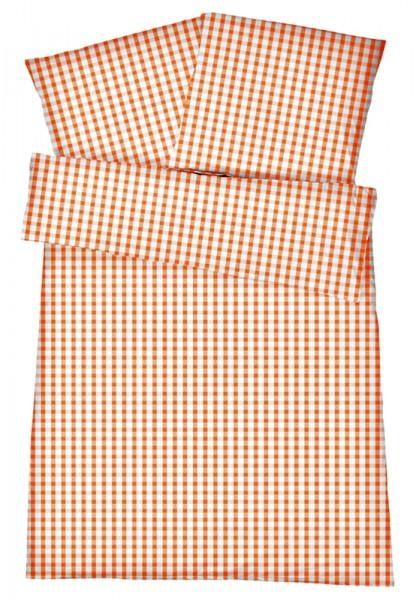Mako-Perkal Bettwäsche 135x200 cm - Karos 4 - Orange aus 100% Baumwolle