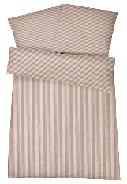 Mako Brokat Damast Bettwäsche Feinstreifen Nougat aus 100% Baumwolle