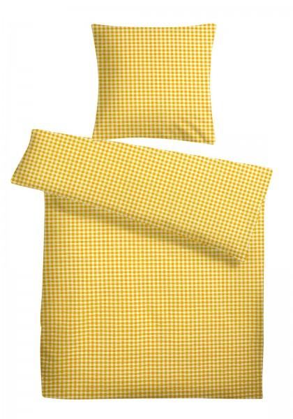 Seersucker Bettwäsche Gelb kariert aus 100% Baumwolle