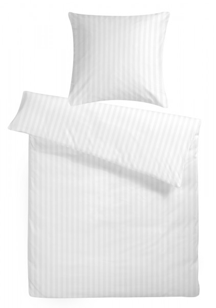 Damast Bettwäsche Basic Weiß aus 100% Baumwolle