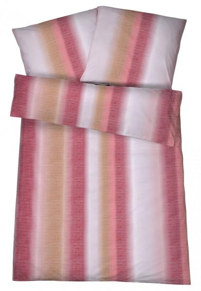 Mako Brokat Damast Bettwäsche Regenbogen Rot aus 100% Baumwolle