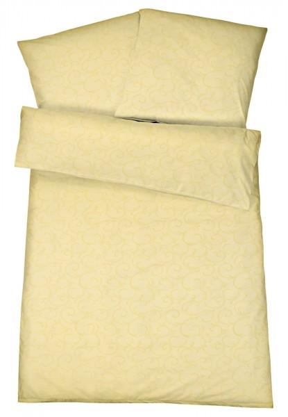 Damast Bettwäsche Ranke Vanille aus 100% Baumwolle