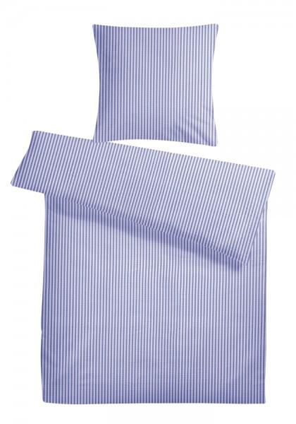 Seersucker Bettwäsche Streifen Blau aus 100% Baumwolle