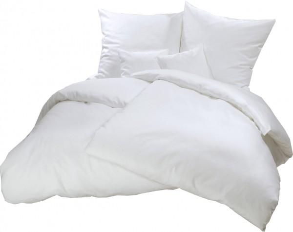 Biber Bettwäsche Weiß Uni aus 100% Baumwolle