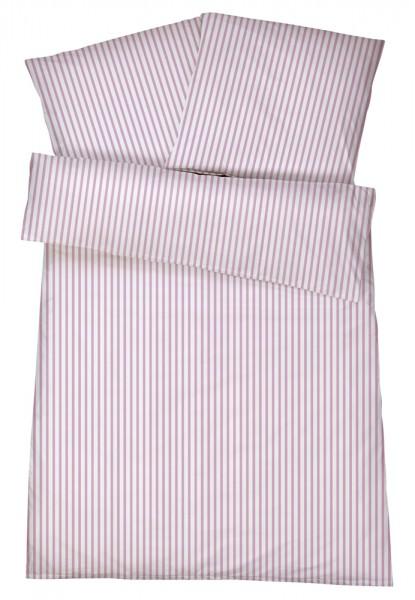Mako-Perkal Bettwäsche 135x200 cm - Streifen 3 - Rosa aus 100% Baumwolle