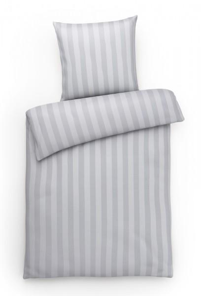 Mako Brokat Damast Bettwäsche Blockstreifen Grau aus 100% Baumwolle