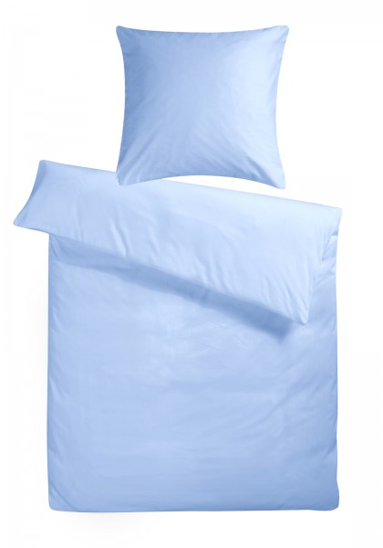 Mako Satin Bettwäsche Hellblau Uni aus 100% Baumwolle