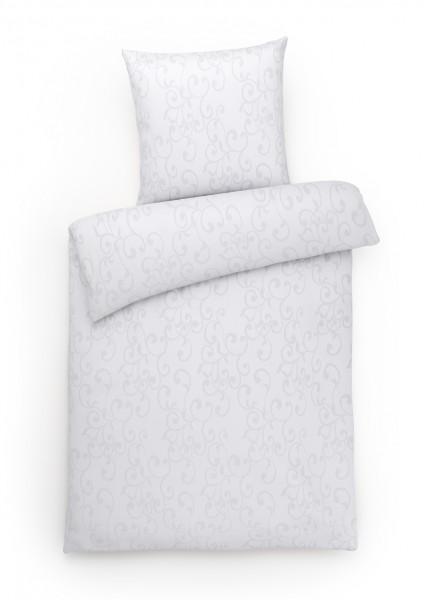 Damast Bettwäsche Ornamente Weiß aus 100% Baumwolle