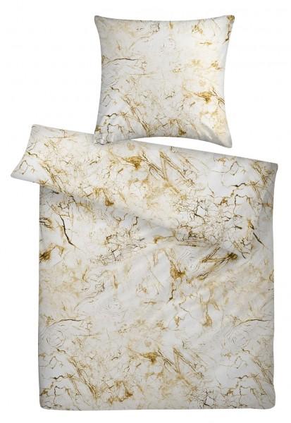 Mako Satin Bettwäsche Marmor Gold aus 100% Baumwolle