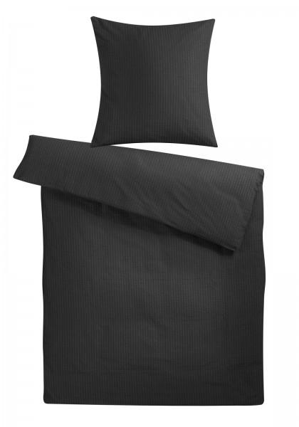 Seersucker Bettwäsche Schwarz Uni aus 100% Baumwolle