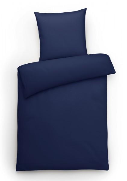 Interlock Jersey Bettwäsche Marine Uni aus 100% Baumwolle