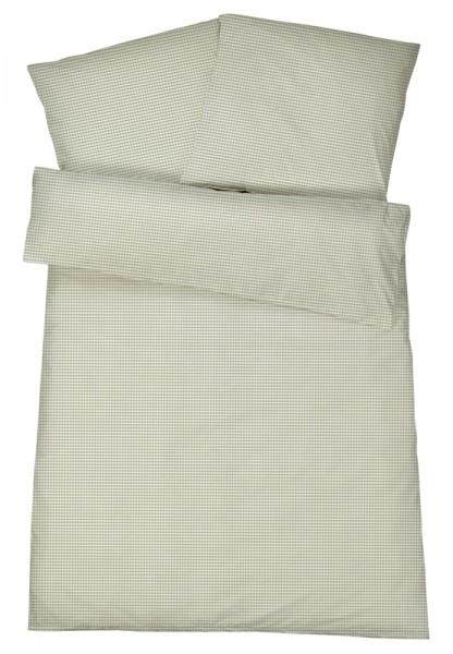 Mako-Perkal Bettwäsche 135x200 cm - Karos 1 - Sand aus 100% Baumwolle