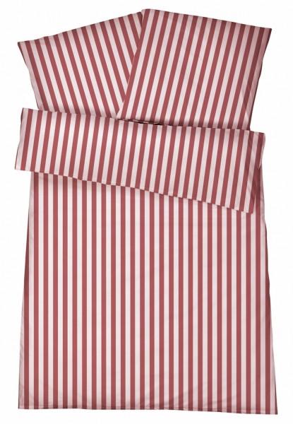 Mako-Perkal Bettwäsche 135x200 cm - Streifen 6 - Rot aus 100% Baumwolle