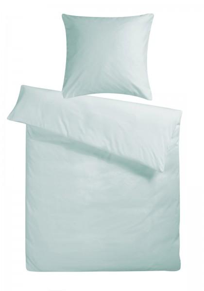 Biber Bettwäsche Gletscher-Blau Uni aus 100% Baumwolle