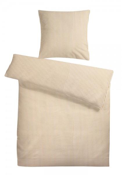 Seersucker Bettwäsche Streifen Creme aus 100% Baumwolle