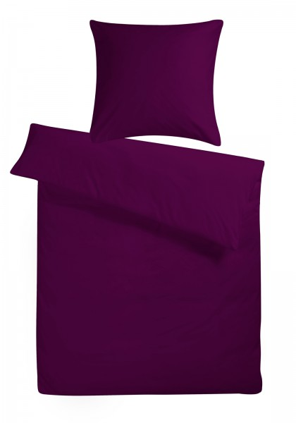 Mako Satin Bettwäsche Lila Uni aus 100% Baumwolle