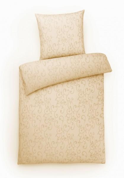 Damast Bettwäsche Ornamente Creme aus 100% Baumwolle