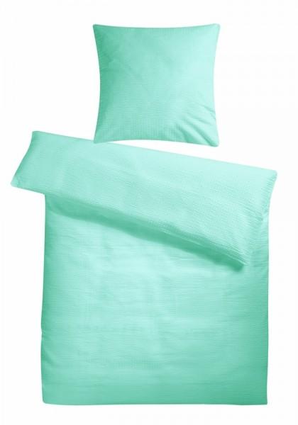 Seersucker Bettwäsche Mint Uni aus 100% Baumwolle