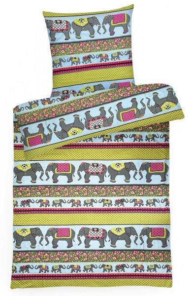 Mako Satin Bettwäsche Elefanten aus 100% Baumwolle