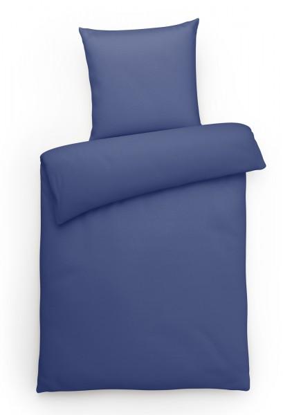 Interlock Jersey Bettwäsche Blau Uni aus 100% Baumwolle