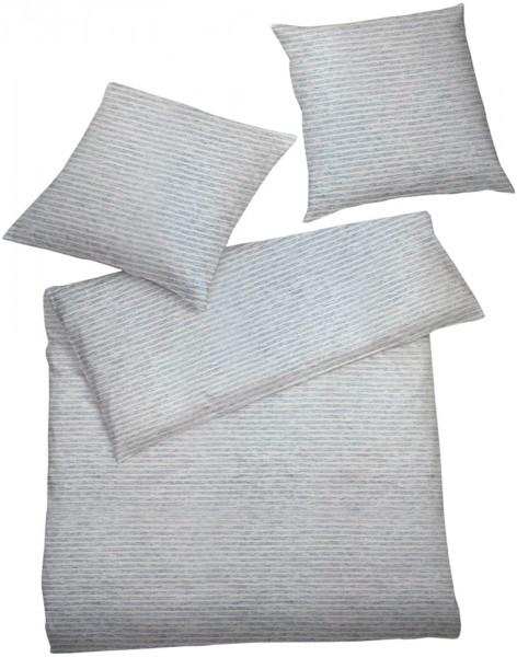 Interlock Jersey Bettwasche Feinstreifen Grau Rosa Jersey