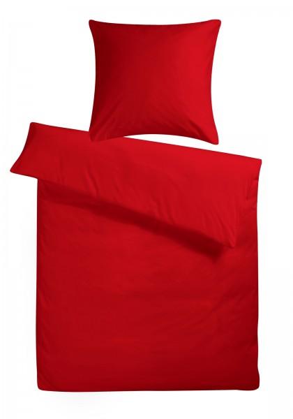 Mako Satin Bettwäsche Rot Uni aus 100% Baumwolle