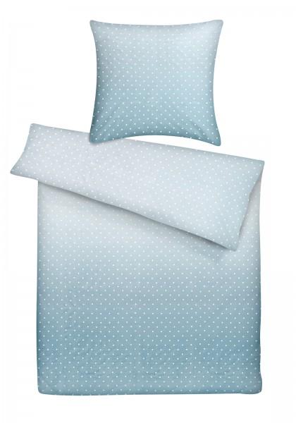 Mako Satin Bettwäsche Punkte Blau aus 100% Baumwolle