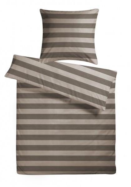 Mako Satin Bettwäsche Stripes Braun aus 100% Baumwolle