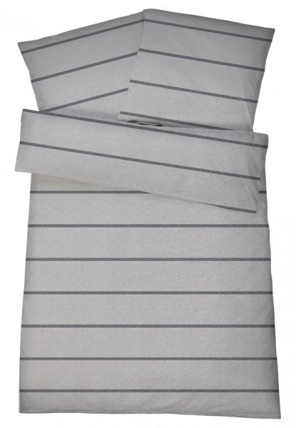 Biber Bettwäsche Hellgrau Streifen Aus 100 Baumwolle