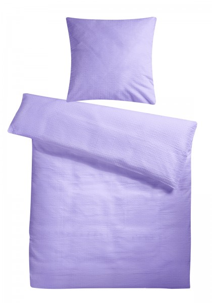 Seersucker Bettwäsche Flieder Uni aus 100% Baumwolle