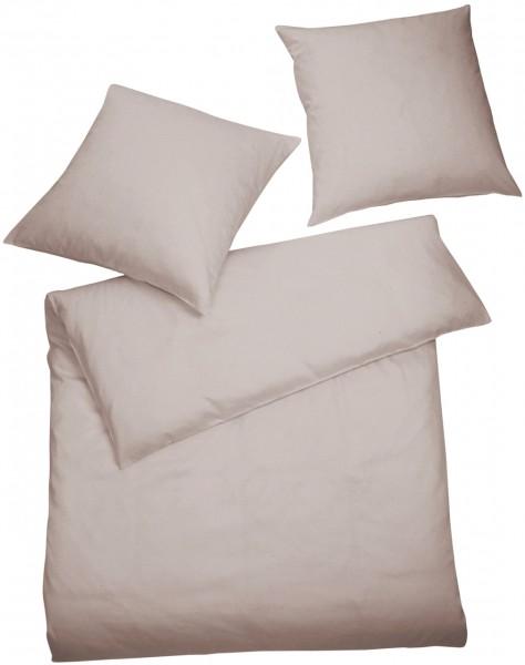 Interlock Jersey Bettwäsche Kiesel Uni aus 100% Baumwolle