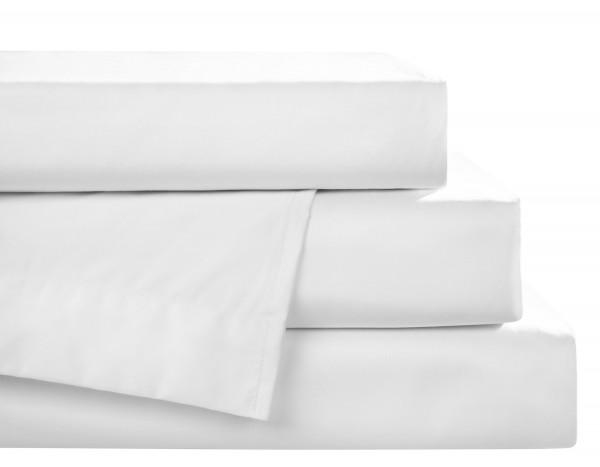 Mako-Satin Spannbettlaken Weiß aus 100% Baumwolle