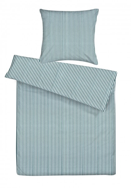 Biber Bettwäsche Streifen Petrol aus 100% Baumwolle