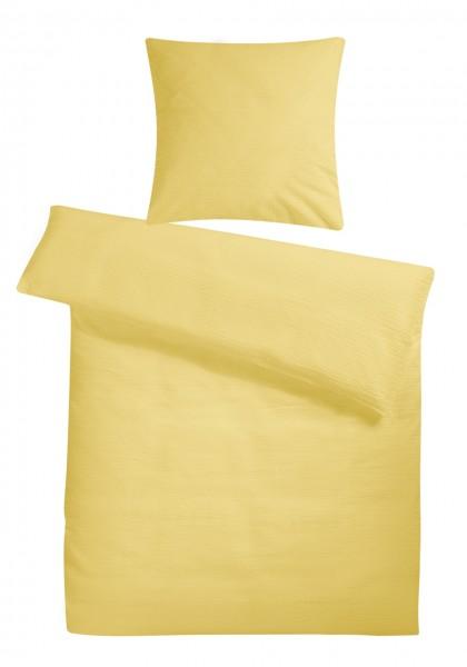 Seersucker Bettwäsche Gelb Uni Aus 100 Baumwolle