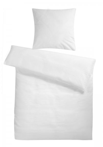 Seersucker Bettwäsche Weiss Uni aus 100% Baumwolle