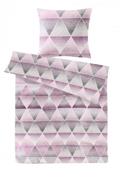 Biber Bettwäsche Dreiecke Rosa aus 100% Baumwolle
