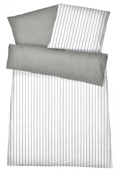 Mako Satin Wendebettwäsche Streifen Melange Grau aus 100% Baumwolle