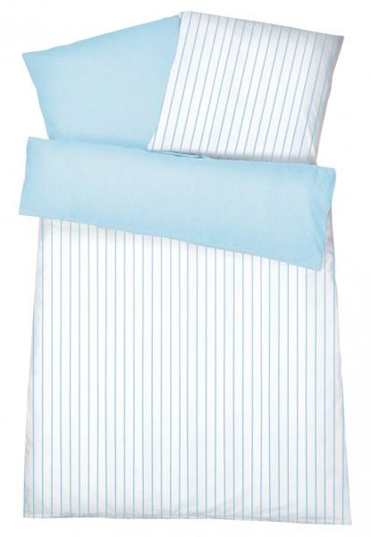 Interlock Jersey Wendebettwäsche Streifen Melange Blau aus 100% Baumwolle