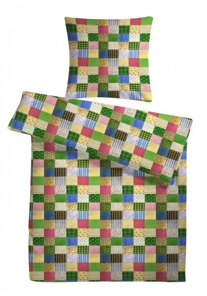 Seersucker Bettwäsche Patchwork Grün aus 100% Baumwolle