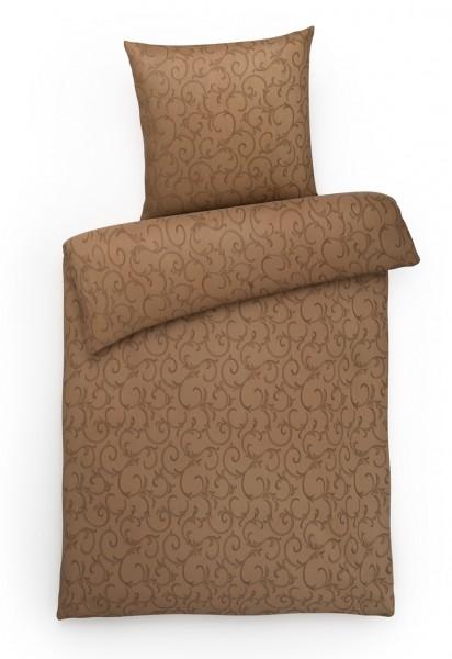 Damast Bettwäsche Ranke Braun aus 100% Baumwolle