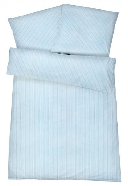 Mako-Perkal Bettwäsche 135x200 cm - Streifen 7 - Blau aus 100% Baumwolle