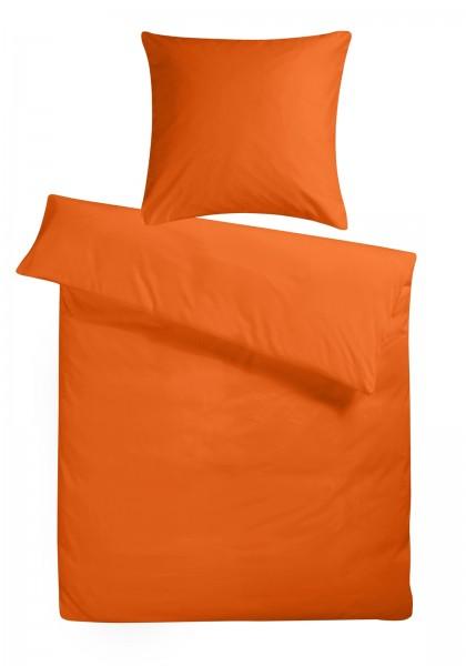 Mako Satin Bettwäsche Orange Uni Aus 100 Baumwolle