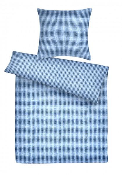 Seersucker Bettwäsche Züchen Blau aus 100% Baumwolle