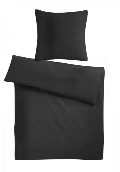 Mako Satin Bettwäsche Schwarz Uni aus 100% Baumwolle